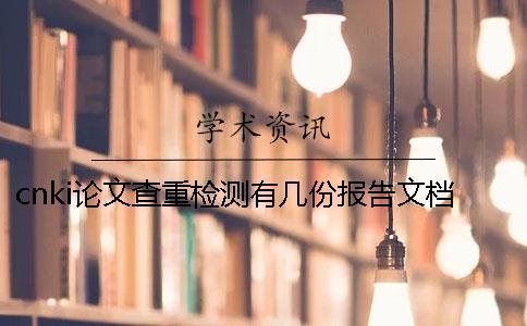 cnki论文查重检测有几份报告文档?