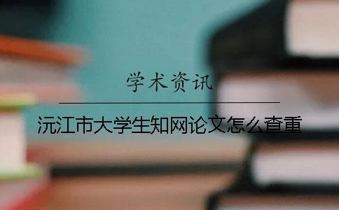 沅江市大学生知网论文怎么查重